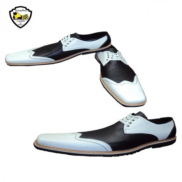 Sapato de Palhaço Ingles Branco/Preto Ref 950