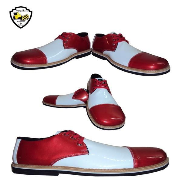 Sapato de Palhaço Branco/Vermelho Ref 801