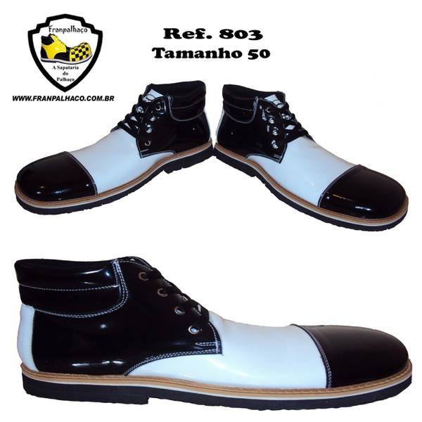 Sapato de Palhaço Preto com Branco Ref 803