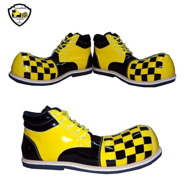 Sapato de Palhaço Amarelo/Preto Quadriculado Ref 500