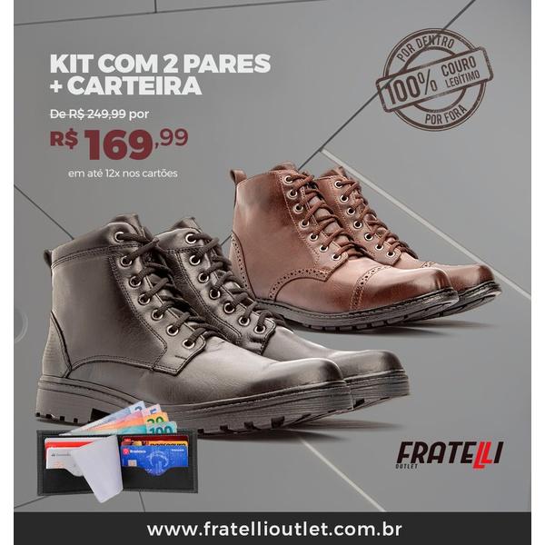 Kit com 2 Coturnos em couro + carteira(999/333)