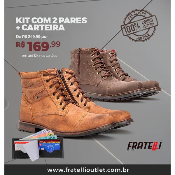 Kit com 2 Coturnos em couro + carteira(185/292)