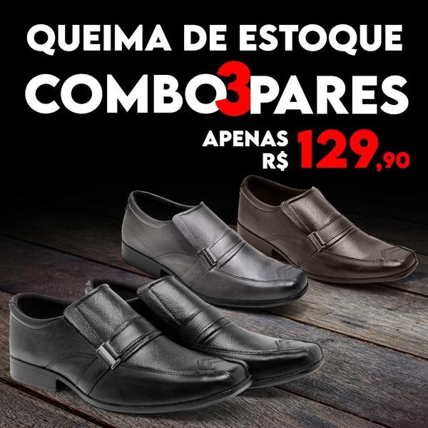 Kit Black C/ 3 Pares Em Couro Bico Quadrado Embuia/Café/Preto