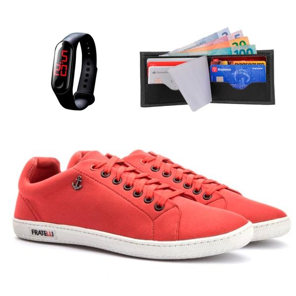 Sapatenis Âncora vermelho+ Relógio + Carteira