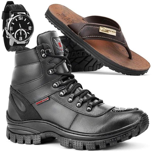 Kit Bota Militar 4093 + Chinelo + Relógio
