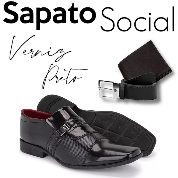 Sapato Social 839VP+CARTEIRA+CINTO