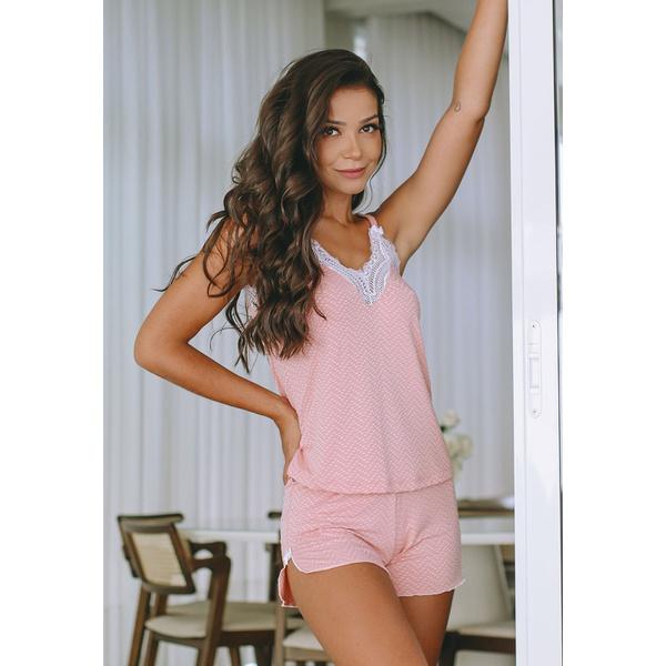 Pijama Verão Rosê Trabalhado Renda Branca em Microfibra