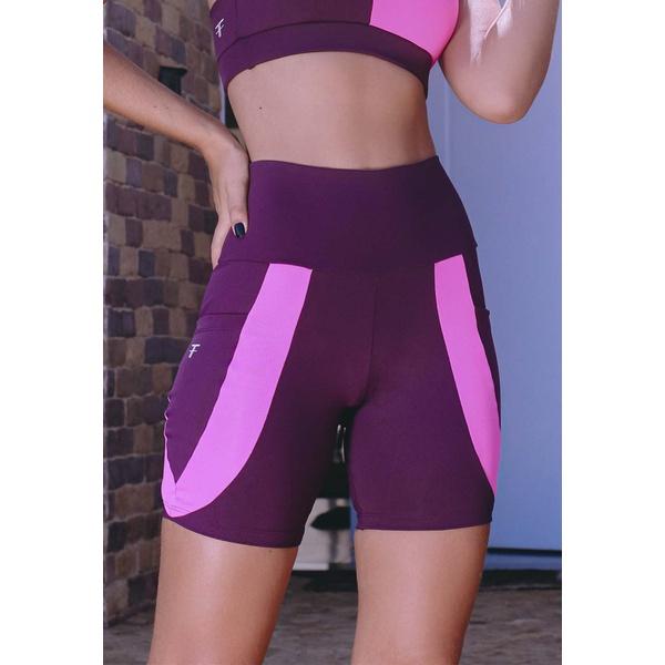 Short Fitness Deluxe Bolso Faixa Pink New Zealand em Microfibra