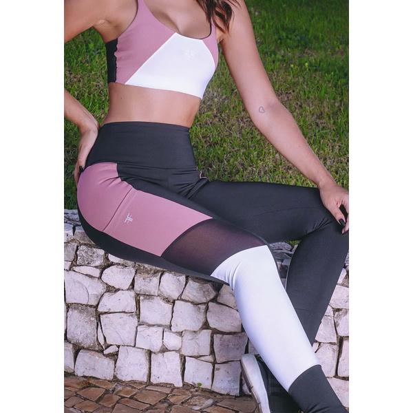 Calça Fitness Preto Tricolor Recorte Callas New Zealand em Microfibra