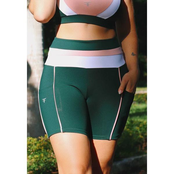Short Fitness Verde Escuro Recorte com Bolso e Cós Tricolor em Microfibra New Zealand