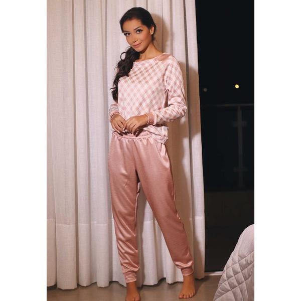 Pijama Inverno Rosa e Xadrez Levemente Brilhante