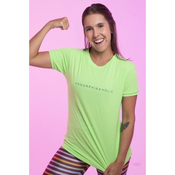 Camiseta Feminina Funfit - Endorphinaholic Verde Limão Neon