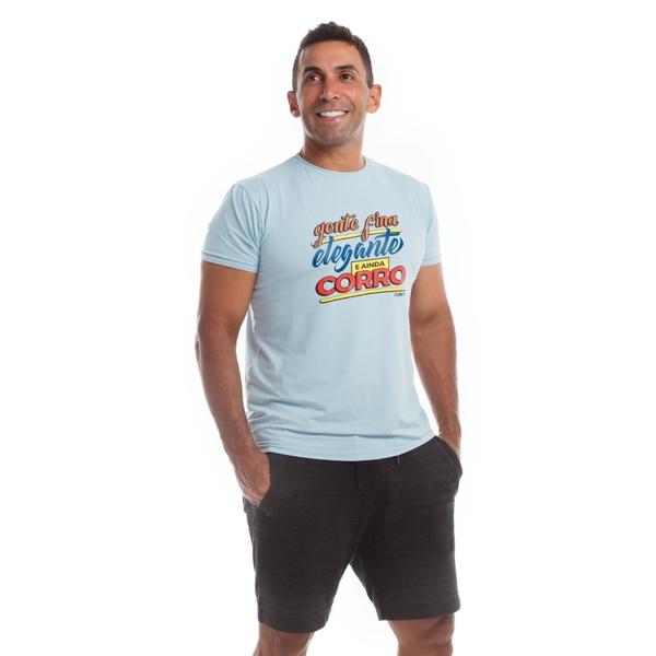 Camiseta Masculina Funfit - Gente Fina Elegante E Ainda Corro Azul BB