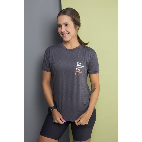 Camiseta Feminina Funfit - The Brand With The Smile Cinza Listras