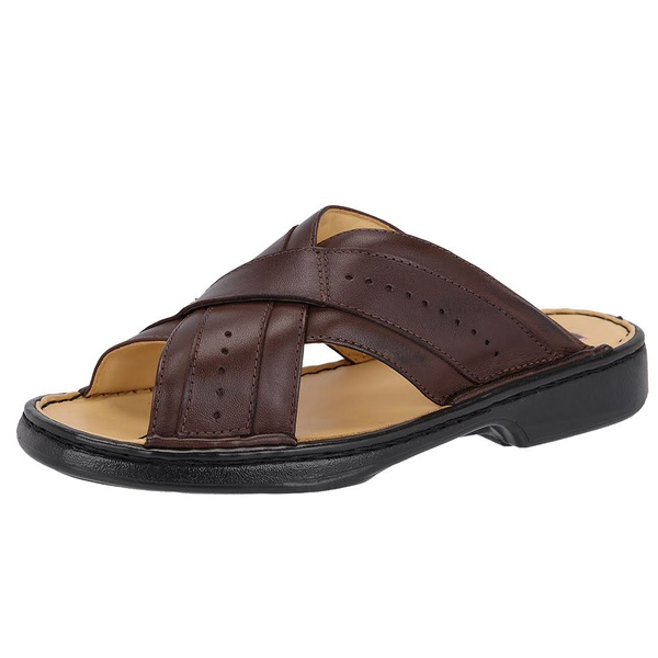 Chinelo Masculino Conforto Em Couro Café Tipo Anti-Stress Galway 3005