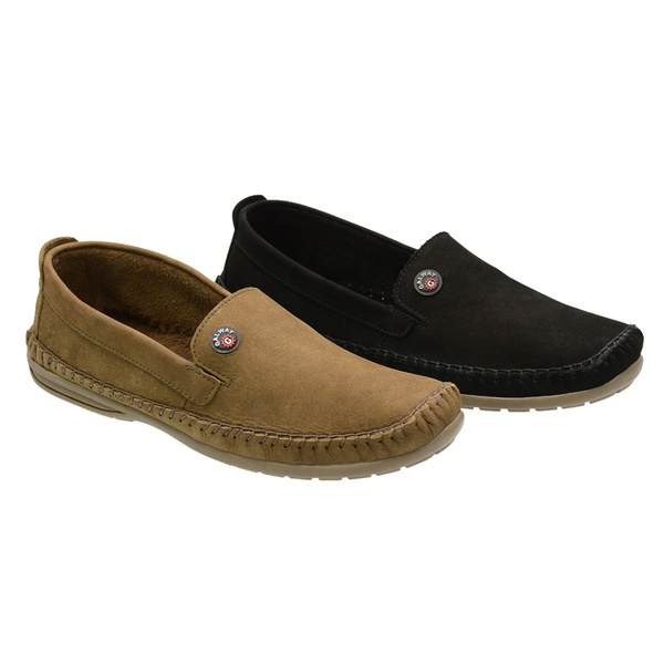 Combo 2 Pares Sapatilha Masculina Em Couro Nobuck Galway 760 Rato + Preto