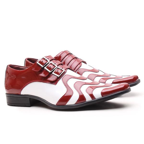 Sapato Social Gofer em Couro Verniz Vermelho e Branco com Metais Lateral - 0451PU