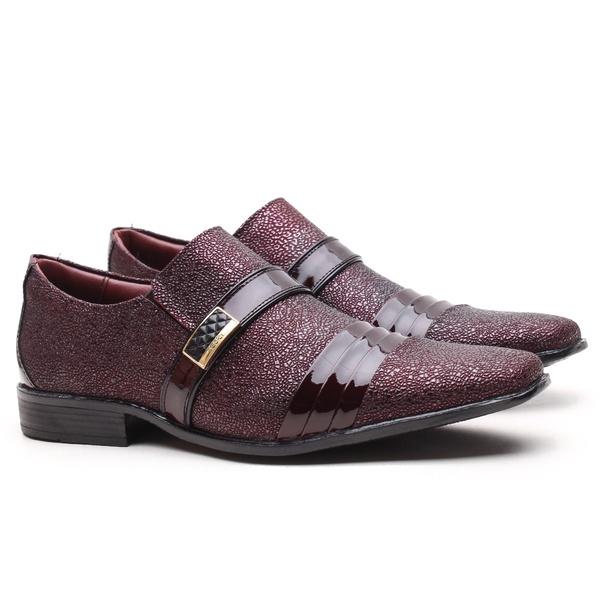 Sapato Social Gofer Em Couro Verniz Dark Red com Detalhes em Blob Bordô- 12403APU-PE