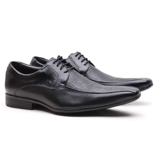 Sapato Social Gofer com Cadarço em Couro Mestiço Preto com Detalhes Estampados - 17039PU-PE