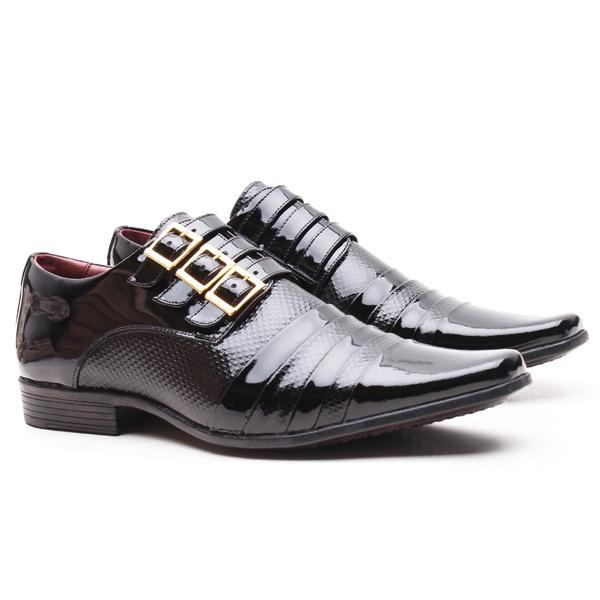 Sapato Social Gofer em Couro Verniz com Detalhes Estampados e Metais em Ouro 0461APU