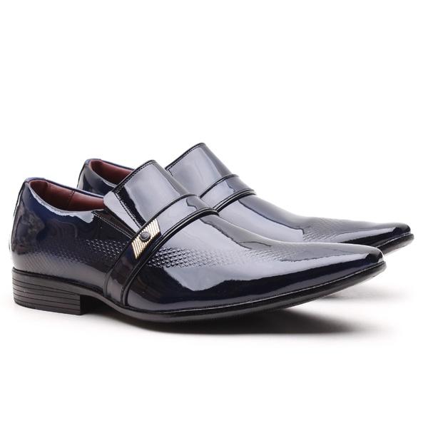 Sapato Social Gofer em Couro Verniz Dark Blue com Detalhes Estampados Exclusivos - 17288APU