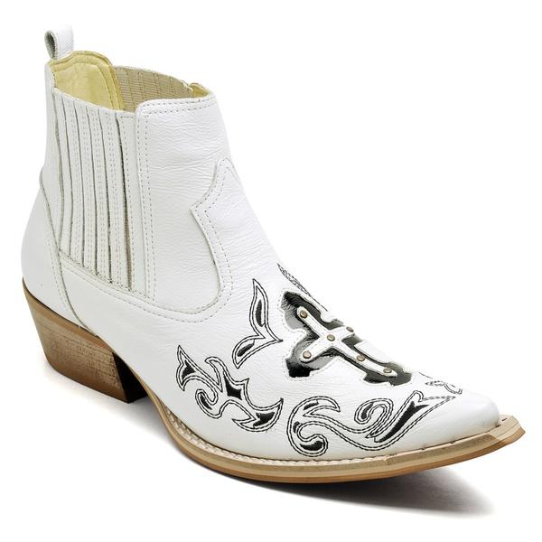 Bota Texana Masculina Premium Verniz Branco e Preto