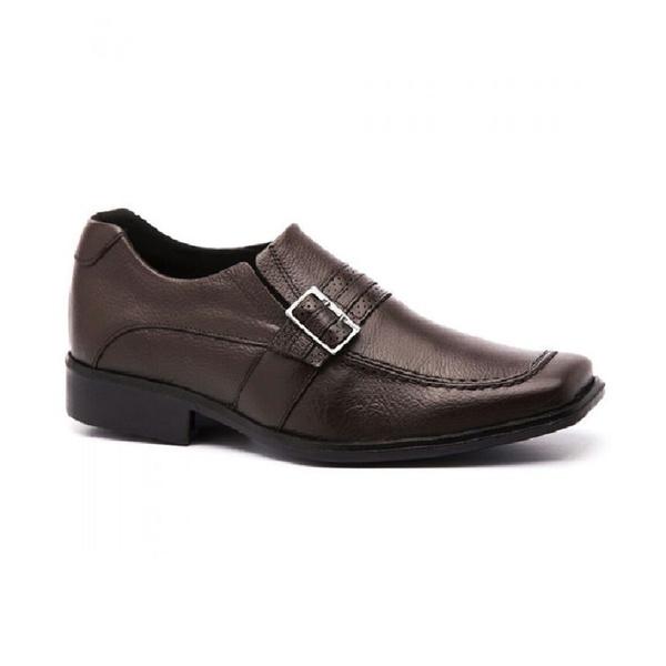 Sapato Social Masculino Bico Quadrado em Couro Café