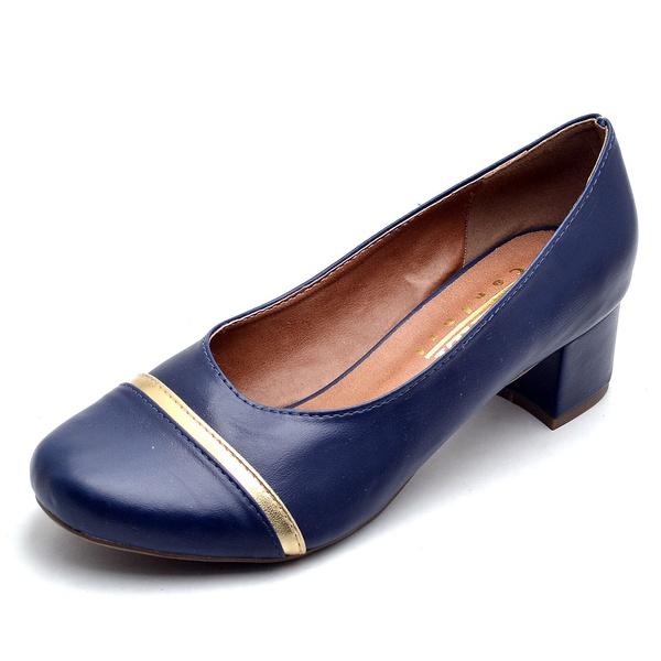 Sapato Peep Toe Feminino Marinho e Ouro