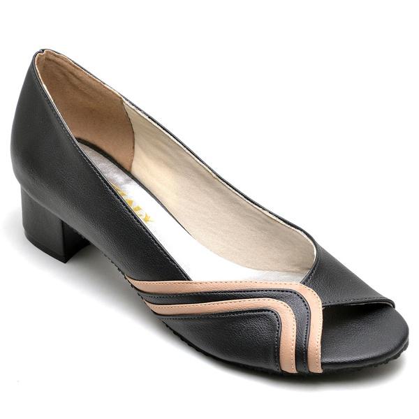 Sapato Feminino Peep Toe Preto e Nude