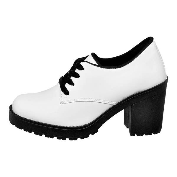 Sapato Social Feminino Oxford Tratorado Branco Verniz