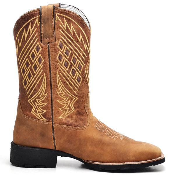 Bota Texana Masculina Bordada Marrom Claro