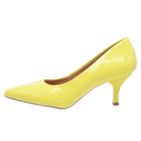 Sapato Feminino Scarpin Salto Baixo Verniz Amarelo