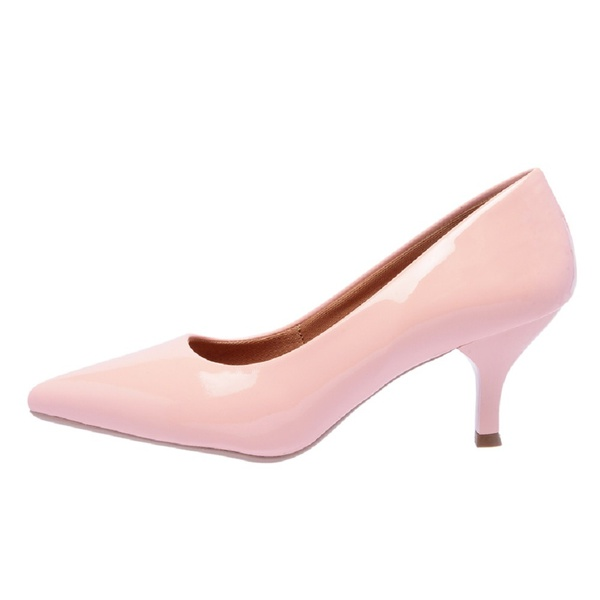 Sapato Feminino Scarpin Salto Baixo Verniz Rosé