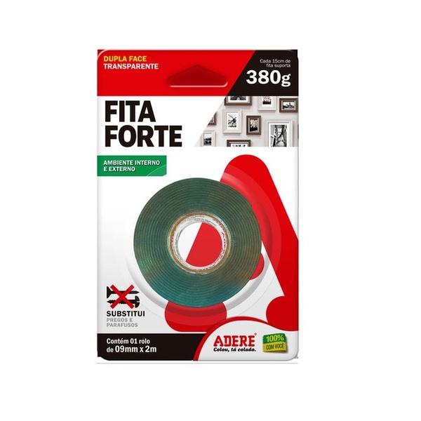Fita Dupla Face Transoarente Fita Forte De 9mm X 2m - Adere<BR>