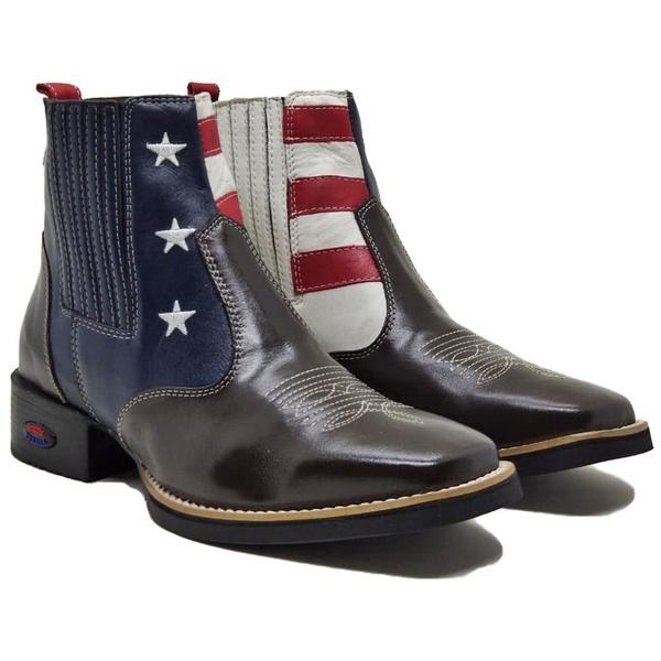 Bota Texana Bico Quadrado U.S.A 2049 Masculina Em Couro