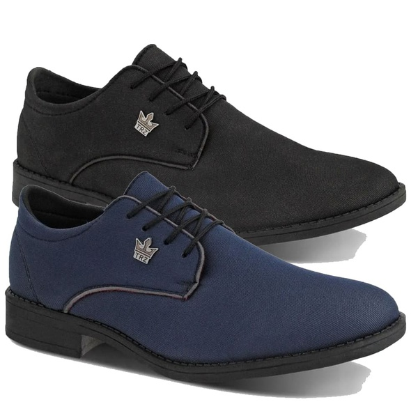Kit 2 Oxford Casual Masculino Preto e Azul Em Lona