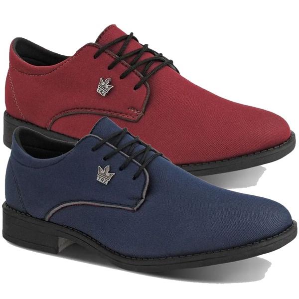 Kit 2 Oxford Casual Masculino Vermelho e Azul Em Lona