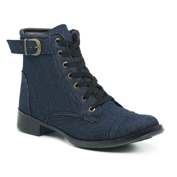 Coturno Feminino Estilo Militar Bota Cano Médio Jeans
