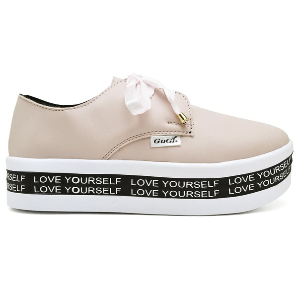 Tênis Plataforma Feminino Rose Com Bordado Love Yourself