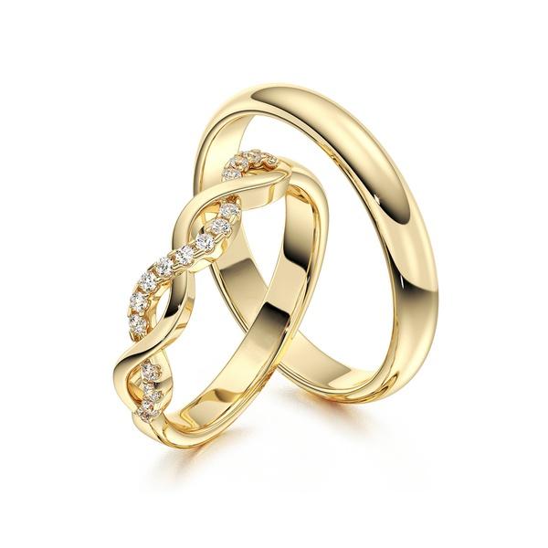 Aliança em Ouro 18k Trançada com Diamantes
