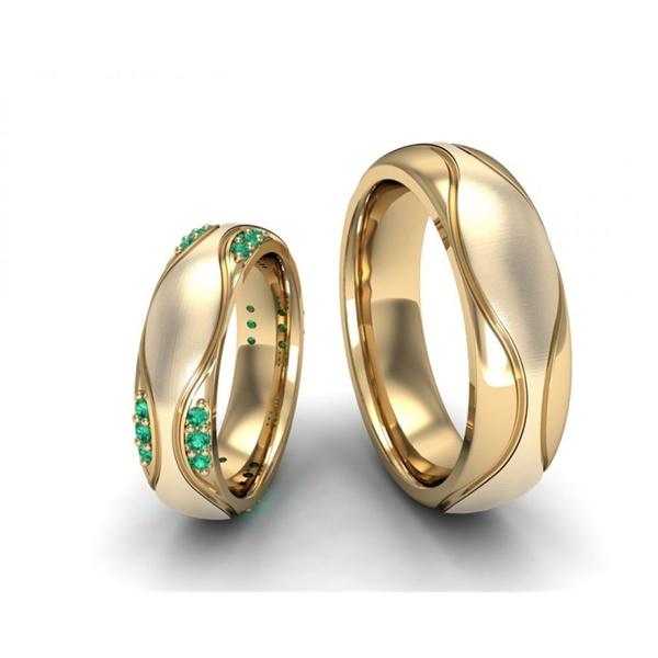 Aliança de Casamento com Esmeralda