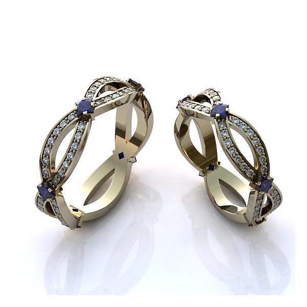 Aliança de Casamento com Diamantes e Safira
