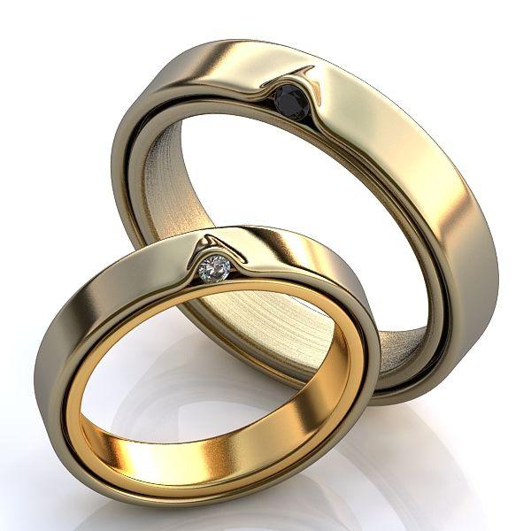 Aliança de Casamento - com Diamantes white e Black