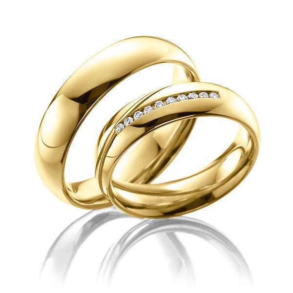 Aliança de Casamento em Ouro 18k com Brilhantes