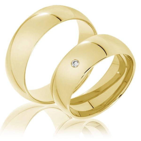 Aliança Clássica Casamento com Diamantes - 8,0 Milímetros