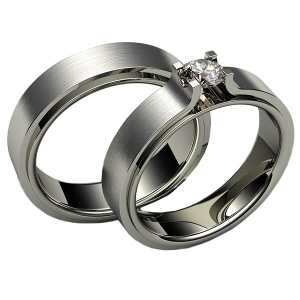 Aliança de Casamento em Ouro Branco com Diamantes de 20 Pontos