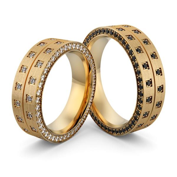 Aliança de Casamento em Ouro 18k com Diamantes Black