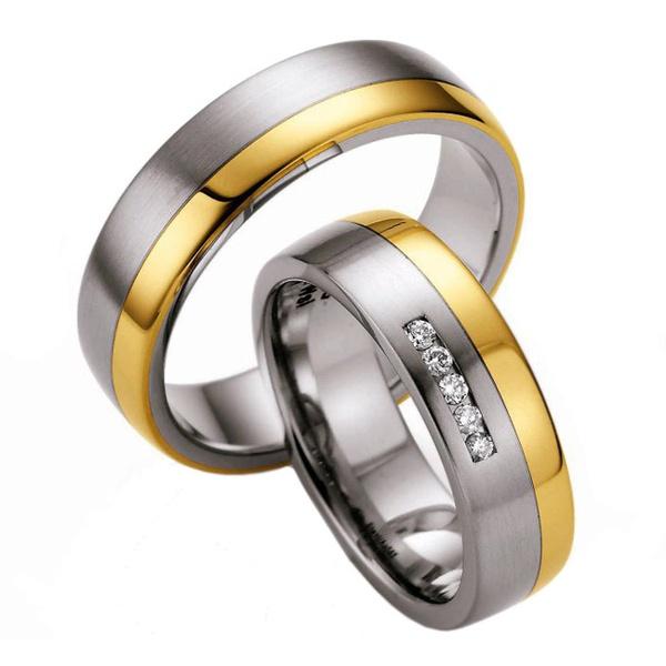 Aliança de Casamento em Ouro 18k com Pedras