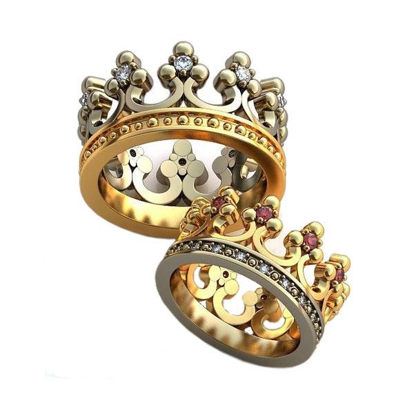 Alianças em Ouro 18k Coroa Cravejada com Diamantes e Rubi