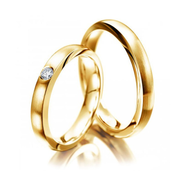 Aliança Clássica 4,0 Milímetros com Diamante - em Ouro 18k